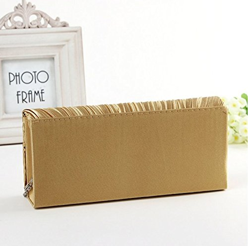 Wedding Gold Women's With Satin Party Evening Gift Handbag Envelope Shoulder Da Gold Birthday Strap Wa Clutches Elegant For Bag Clutch Bags ax4qwcWSBR