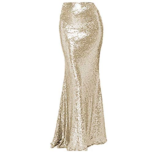 NaXY Simply Sequin Party Skirt Maxi Dresses for Prom Cocktail Party Evening Casual Dresses Skirt Champagne Gold Size 10