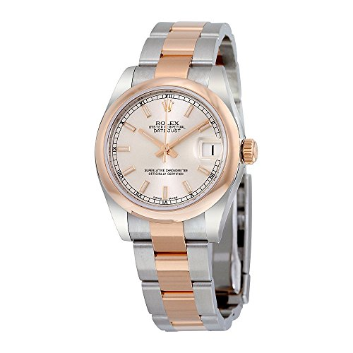 Rolex Datejust Silver Dial Steel and 18K Everose Gold Oyster Ladies Watch 178241SSO