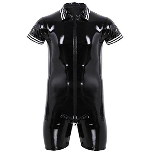 4278b71944 YiZYiF Men's Wet Look PVC Leather Short Sleeves Zipper Catsuit Jumpsuit  Costumes Black X-Large