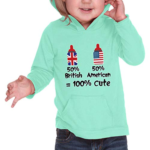 50% British 50% American = 100% Cute Long Sleeve Hooded Infant Boys-Girls Cotton/Polyester RawEdge Hoodie Sweatshirt - Ice Green, 6 ()