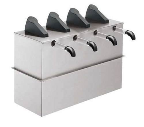 Server Products SE-4DI-07210 Express Pouched Condiment Station, (4) 07794 Pumps and Drop-In Base, (4) 1-1/2 gal, 16 mm Capacity, Black/Stainless Steel (Server Pump Express)