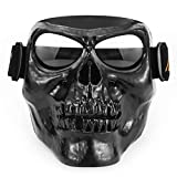 Leezo Mens Motorcycle Helmets Goggle Mask Skull Full Face ABS Windproof Goggle Monster Mask for Cosplay Costume Halloween Party