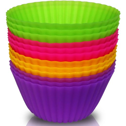 Pacific-V Silicone Baking Cups - 4 Colors of 12 Sets BPA Free Silicone Cupcake Liners Perfect for Muffin, Mini Cakes, Snacks, Frozen Treats and Any Dessert - Quick Baking & Cooling - Easy Loaf Removal - 100% Food Grade Silicone Baking Molds