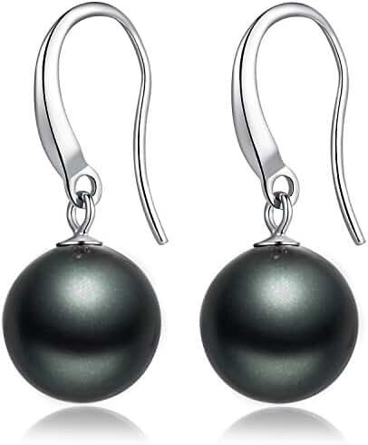 ZowBinBin Sterling Silver Black Imitation Pearl Drop Earrings