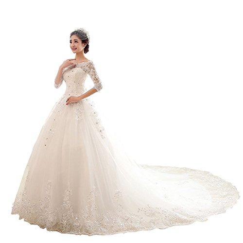 JoyVany Luxury Wedding Dresses Princess Lace 3/4 Sleeves Elegant Wedding Gown Ivory Size 20W
