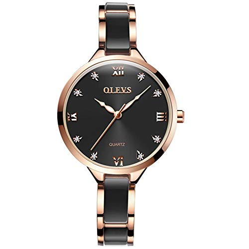 Watches for Women Fashion Womans Watch Black Ceramic and Stainless Steel Strap Rose Gold Watches for Women Waterproof Rome Big dial Womans Watch Luxury Female Wrist Watches Ladies Watch L5872THR