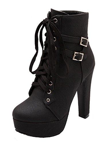 YE Damen High heels Stiefeletten Plateau mit Blockabsatz und Schnürung Schnallen ankle Boots kurzschaft Stiefel mit fell Herbst Winter warme Schuhe Schwarz