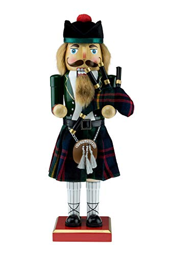 "Clever Creations Scottish Soldier Nutcracker Wearing Scottish Outfit with Bag Pipes | Festive Collectable Christmas Decor | Perfect for Shelves and Tables | 100% Wood | 14"" Tall with Bagpipes from Clever Creations"