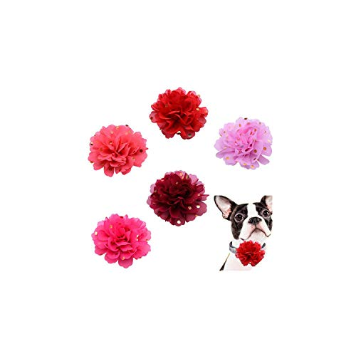 Diamond Bootie Charm - 5pcs Reomovable Pet Collar Charms Small Dog Cat Pet Holiday Grooming Accessories Big Flower Diamond Pet Supplies Pet Bow Tie,Flower 9.5cm,3cm