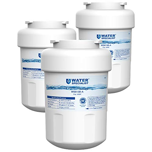 (Waterspecialist NSF 53&42 Certified MWF Refrigerator Water Filter, Replacement for GE SmartWater MWFP , MWFA, GWF, HDX FMG-1, WFC1201, GSE25GSHECSS, PC75009, RWF1060, 197D6321P006 (Pack of 3))