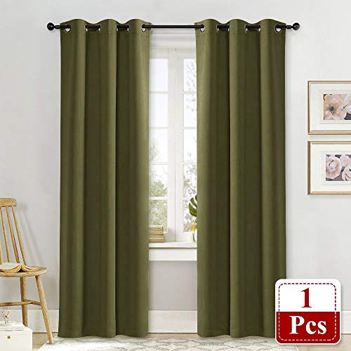 NICETOWN Blackout Room Darkening Window Curtain Thermal Insulated Solid Grommet Blackout Curtain/Drape for Living Room (Single Panel, 42 by 84-Inch, Olive Green) ()