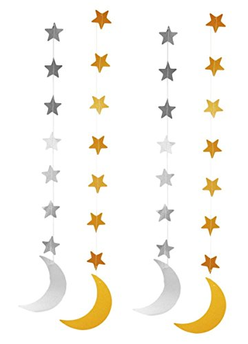 Zaffron Silver and Gold Crescent Moon Hanging Eid Decorations (4 pack)