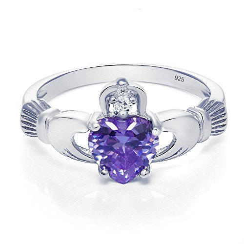Sterling Silver Claddagh Promise Ring For Her with Simulated Lavender Sapphire And Cubic Zirconia, 8mm (7)