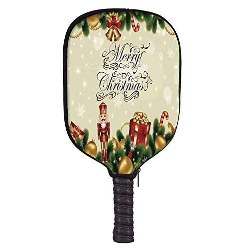 MOOCOM Christmas Fashion Racket Cover,Noel Ornaments with Birch Branch Cute Ribbons Bells Candy Canes Art Image for Playground,8.3