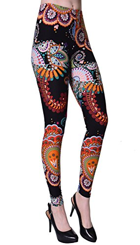 VIV Collection Plus Size Regular Size Printed Brushed Ultra Soft Leggings (Night Paisley Festival)