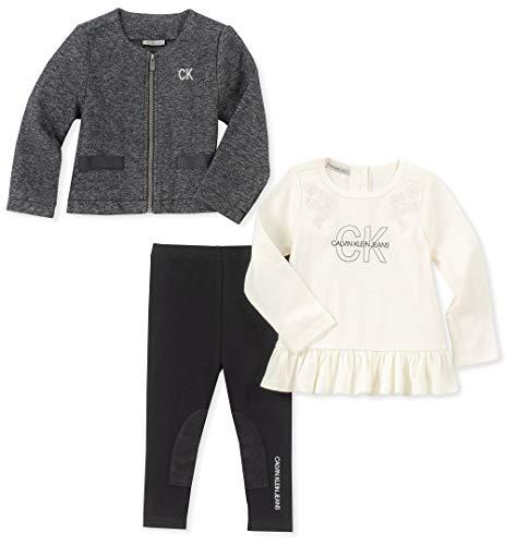 Calvin Klein Baby Girls 3 Pieces Sweater-Jacket Set, Print/Silent Vanilla/Black, 12M ()