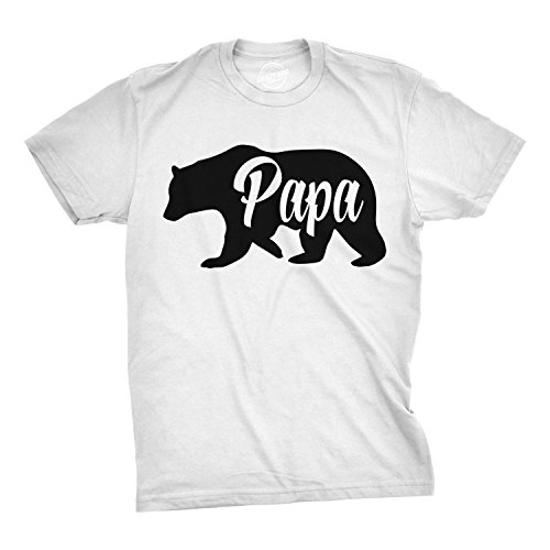 Mens Papa Bear Funny Shirts for Dads Gift Idea Novelty Tees Family T Shirt (White) - L (Daddy Shirts Tee)