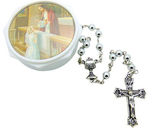 Westman Works Girl's First Communion Set with Case and Rosary with Metal Beads and Crucifix