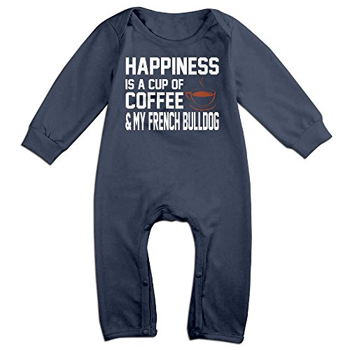 Coffee Cup Costumes Pattern (Baby Infant Romper Happiness Is A Cup Of Coffee Long Sleeve Jumpsuit Costume Navy 6 M)