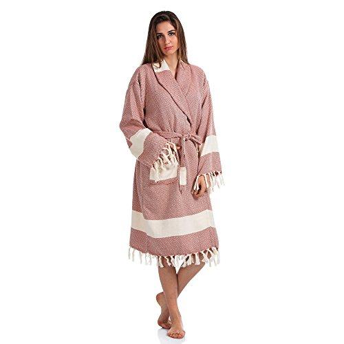 - fdm Hooded Turkish Peshtemal Bathrobe Unisex 100% Turkish Cotton Sauna Spa Beach Robe (Pink Diamond, L)