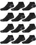 '\'Reebok Men\\\'s 12 Pack Quarter Cut Basic Cushion Socks (Shoe Size: 6-12.5, Black/Grey 2)\''