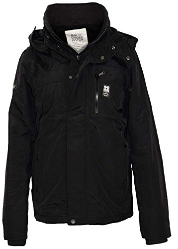 Men Crosshatch Double Layer Funnel Jacket Black S
