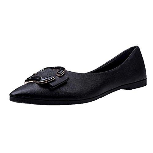 HKFV Damen Mädchen Mode Schuhe Spitze Schuhe Flache Ferse Ballett Prinzessin Schuhe Ballerinas Slipper Slip Ons Absatz in Mehreren Farben 36-40 Flandell Black