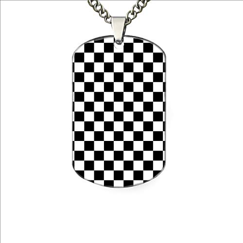 XIAOTT Black White Checkerboard Funny Pet Tag, Funny Dog Tag, Dog Collar Tag, Pet Tags Dog Tag
