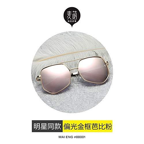 2018 Sunglasses Men Drove Influx People Driving Mirror Polarized Sunglasses yurt Men Man Personality Korea Eyes (Gold Frame Pink (hd Polarized)