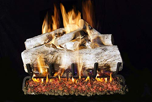 RH Peterson Co. Real Fyre Mountain Birch Vented Gas Logs (MBW-18), - Log Gas Vented Birch Natural