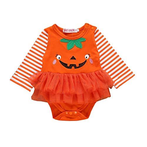 Floor 1 Of 100 Floors Halloween (FengGa Newborn Infant Baby Girl First Halloween Pumpkin Print Romper with Tutu Skirt)