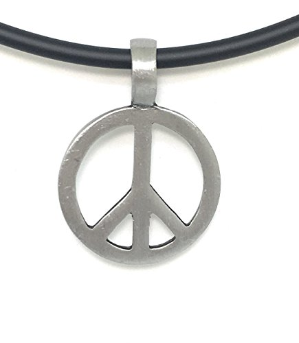 Pewter Classic Peace Sign Love Hippie Pendant on 18 inch PVC Necklace for men or ()