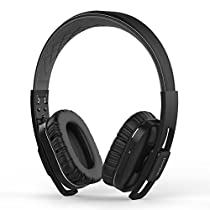 dodocool Active Noise Cancelling Wireless Bluetooth Headphones and Wired Hi-Fi Stereo Headset Over Ear, Foldable, 14 Hours Playtime, Multi-device Connection for Travel Work TV Computer - Black