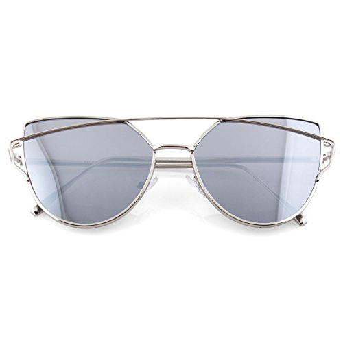 Modern Cross Brow Flat Lens Sunglasses