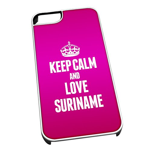 Bianco cover per iPhone 5/5S 2286 Pink Keep Calm and Love Suriname