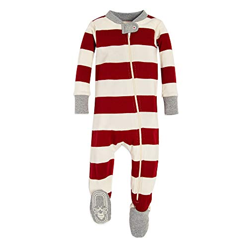 Cotton Sleeper Pajamas - Burt's Bees Baby Baby 1-Pack Unisex Pajamas, Zip-Front Non-Slip Footed Sleeper PJs, Organic Cotton, Red Rugby, 12 Months