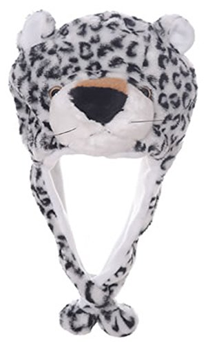 Animal Head Super Soft Plush Childrens Hat - Snow Leopard