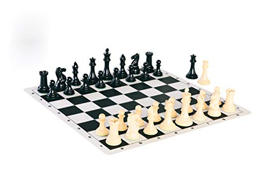 Quadruple Weight Tournament Chess Game Set - Chess Board Game with Natural Chess Pieces, Black Vinyl ()