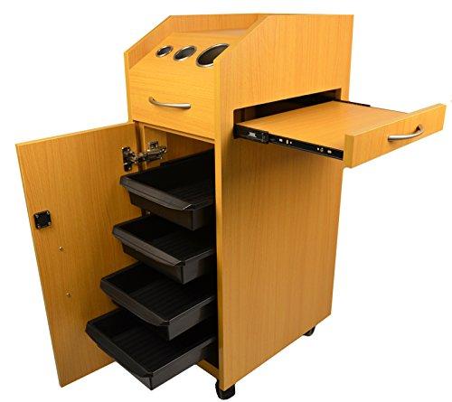 LCL Beauty Oak Locking 4 Drawer Rolling Workstation Trolley w/ Tool Holders & Nesting Utility Shelf by LCL Beauty