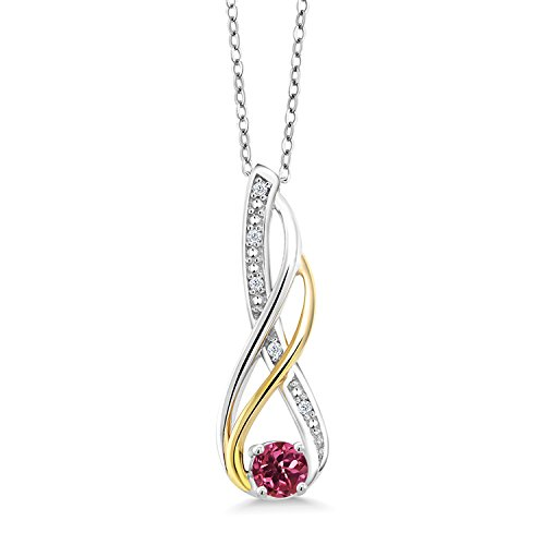 Gem Stone King 2 Tone 10K Yellow Gold And 925 Sterling Silver Diamond Infinity Pendant 0.28 Ct Round Pink Tourmaline ()
