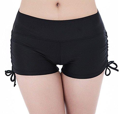 Y&L Las Mujeres De Color Sólido De Yoga De Ejecución Cortos De Vacaciones De Verano De Fondo De Bikini Hot Pants Negro