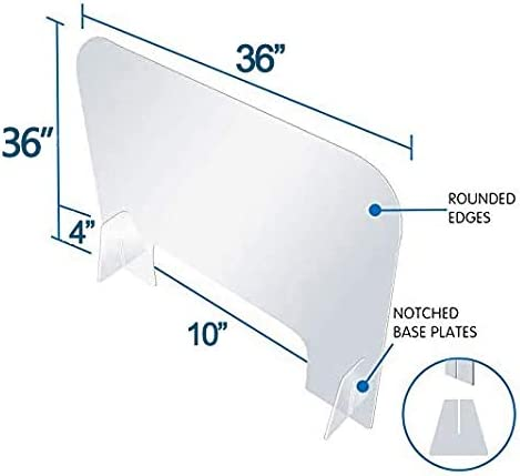 Size : 36x36 Employee Cashier Transaction Safety 36 w x 36 h Protective Freestanding Shield Guards Cough Protection Portable Plastic Acrylic Barrier Plexiglass Sneeze Guard