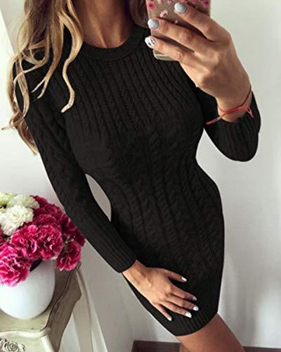 Cuello Tfdgh Suéter Punto Vestido O Manga Otoño Xl Invierno Larga De Cálido Mujer gZfxZ