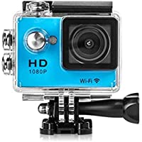 Mini WiFi Portable Action Sports Camera, 2.0 Inch LCD Screen 1080P HD 12Mp Video PC Camera 170° Wide Angle Lens Wireless Waterproof HDMI Output (Blue)