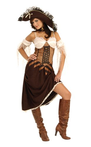 Secret Wishes Women's Maiden Of The Sea Adult Costume, Brown/White, (Maiden Of The Sea Pirate Hat)