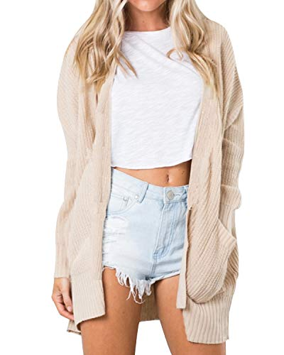 Chunky Hooded Cardigan - Kenoce Women's Long Sleeve Cardigans Sweater Open Front Chunky Warm Pointelle Blouses with Pockets Beige M