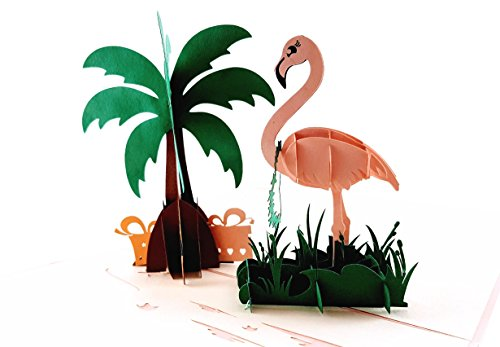 iGifts and Cards Flamingo 3D Pop up Greeting Card - Wading Bird, Pink, Presents, Palm Tree, Relax, Fun, Half-Fold, Just Because, Thank You, Happy Birthday, Balance Life, Congratulations, Get ()