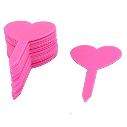 DealMux Plástico Doméstico Jardim Coração planta em forma Tag Semente Etiqueta marcador da vara rosa 20pcs