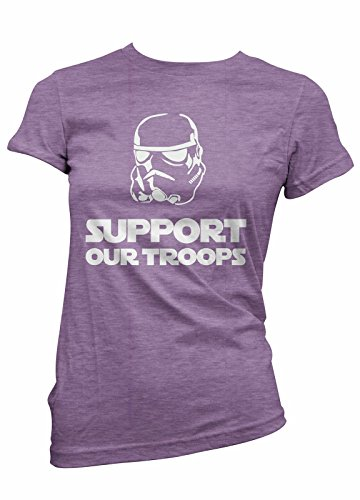 SUPPORT OUR TROOPS WOMENS SHIRT STAR WARS PARODY LADIES T-SHIRT (2XL, Heather Purple)